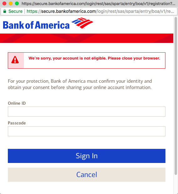bank of america online banking sign in site key
